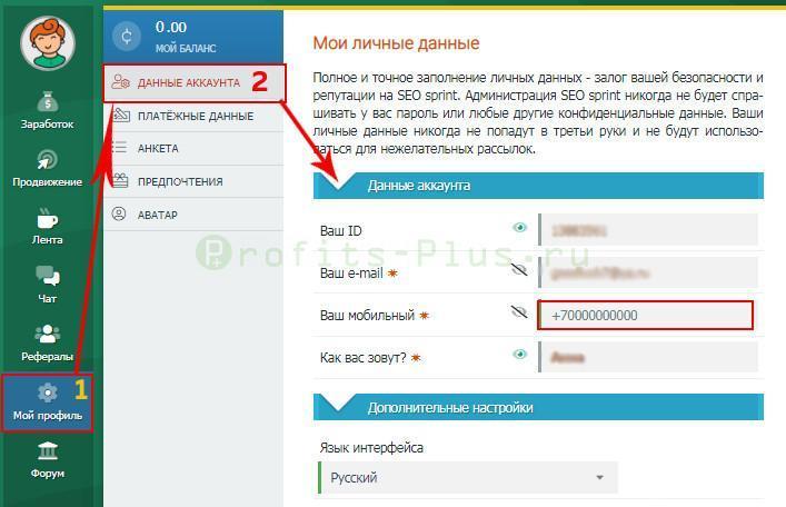 Где указать номер телефона после регистрации аккаунта в Сеоспринт для работы в интернете